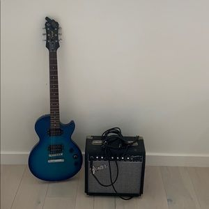 Electric Guitar, Tuner, and Amp